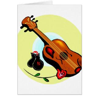 Ukulele Castanets Rose Design Graphic Musical Note Card