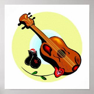 Ukulele Castanets Rose Design Graphic Musical Poster