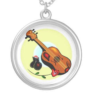 Ukulele Castanets Rose Design Graphic Musical Round Pendant Necklace