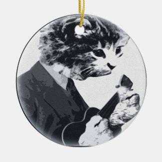 Ukulele Cat round Round Ceramic Decoration