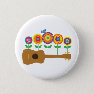 Ukulele Flowers 6 Cm Round Badge