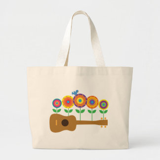 Ukulele Flowers Jumbo Tote Bag