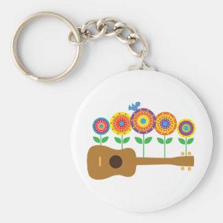Ukulele Flowers Key Ring