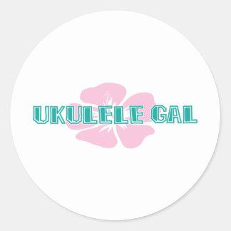 Ukulele Gal Round Sticker