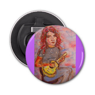 ukulele girl art bottle opener