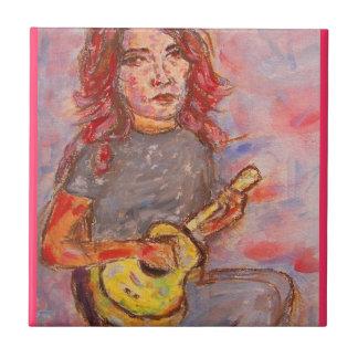 ukulele girl art small square tile