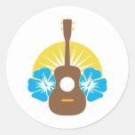 Ukulele Hibiscus Round Stickers