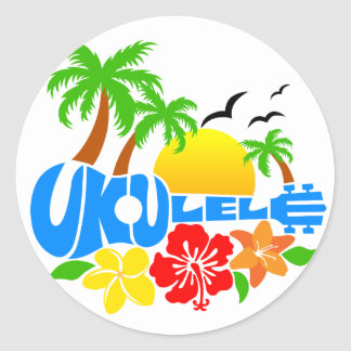 Ukulele Island Logo Classic Round Sticker