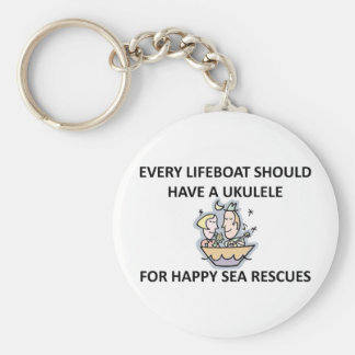 Ukulele Lifeboat Basic Round Button Key Ring