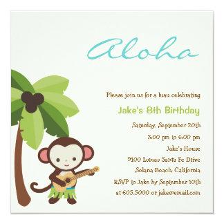 """Ukulele Monkey Luau Party Invitation 5.25"""" Square Invitation Card"""