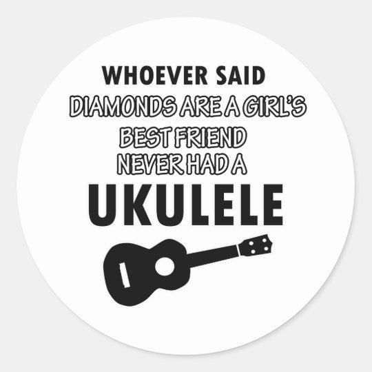 Ukulele musical instrument designs classic round sticker