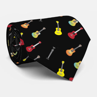Ukulele Pattern Musical Black Tie