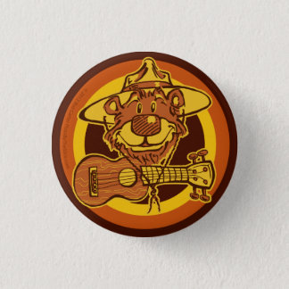 "Ukulele Rangers ""Bear + Uke"" Cartoon Mini-Button 3 Cm Round Badge"