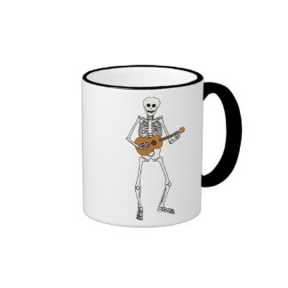 Ukulele Skeleton Ringer Coffee Mug