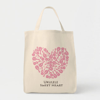 Ukulele Sweet Heart Grocery Tote Bag