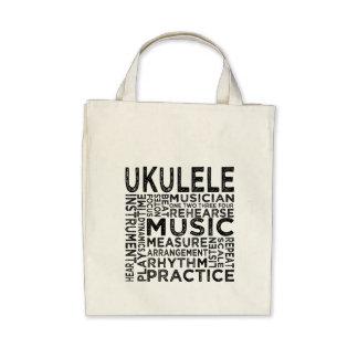 Ukulele Typography Canvas Bag