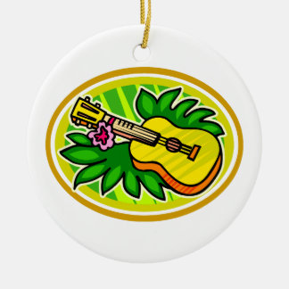 Ukulele With Leaves and Flower Circle , Yellow Christmas Ornament