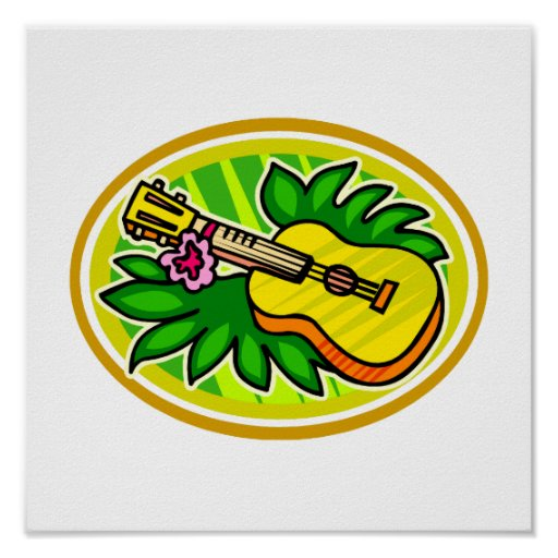 Ukulele With Leaves and Flower Circle , Yellow Print