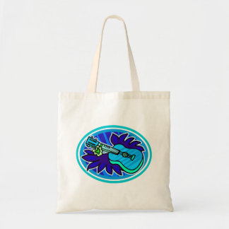 Ukulele with leaves and flowers circle, blue tote bag