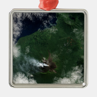 Ulawun Volcano of New Britain Summit Square Metal Christmas Ornament