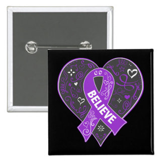 Ulcerative Colitis Believe Ribbon Heart 15 Cm Square Badge