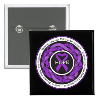 Ulcerative Colitis Hope Intertwined Ribbon 15 Cm Square Badge