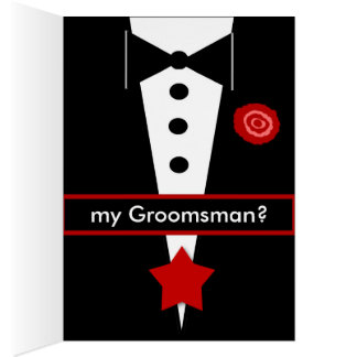 ULINK Be My Groomsman CUSTOM NAME Tux and Rose 1 Greeting Card