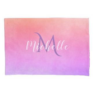 Ulra violet pink peach gradient with monogram pillowcase