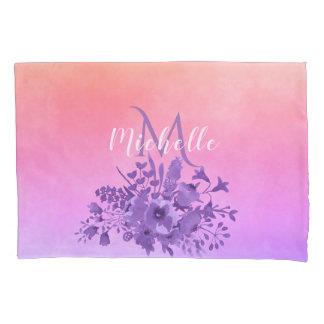 Ulra violet pink peach pastel watercolored flowers pillowcase