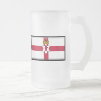 Ulster Flag Frosted Glass Beer Mug