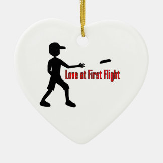 Ultimate Frisbee Love at First Flight Ceramic Heart Decoration