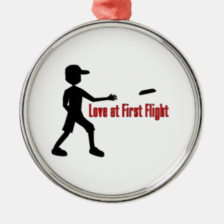 Ultimate Frisbee Love at First Flight Silver-Colored Round Decoration