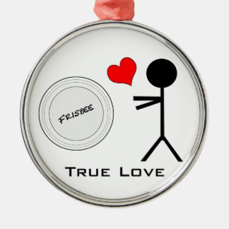 Ultimate Frisbee True Love Silver-Colored Round Decoration