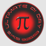 Ultimate Pi Day 2015 3.14.15 9:26:53 (red) Round Stickers