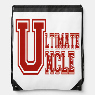 Ultimate Uncle in Off Red Drawstring Backpack