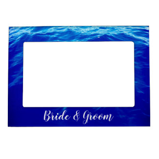 Ultra Blue Waves Calligraphy Personalized Wedding Magnetic Picture Frame