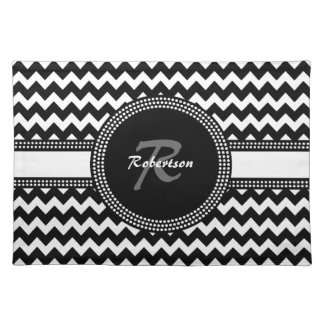 Ultra Chic Black and White ZigZag Chevron Monogram Placemat