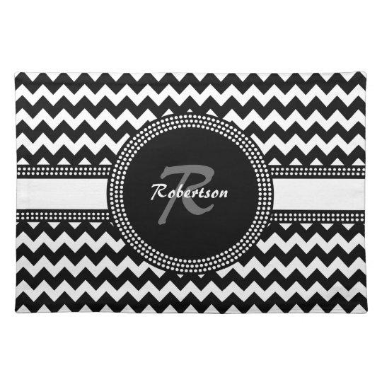Ultra Chic Black and White ZigZag Chevron Monogram