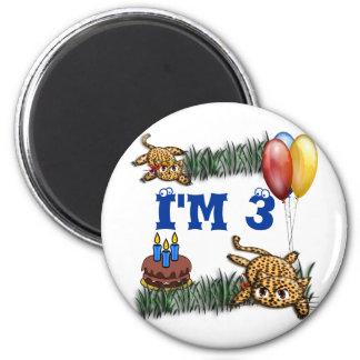 Ultra Cute 3 Year OLD Leopard Safari Birthday 6 Cm Round Magnet