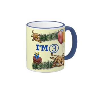 Ultra Cute 3 Year OLD Leopard Safari Birthday Coffee Mug