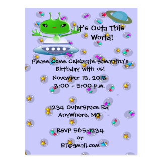 Ultra Cute Alien Birthday Invitations Postcard