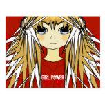 Ultra Cute Anime Blonde Long Hair Girl Power Post Cards