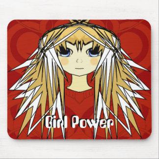 Ultra Cute Girl Power Anime Girl Wild Long Hair Mouse Pad