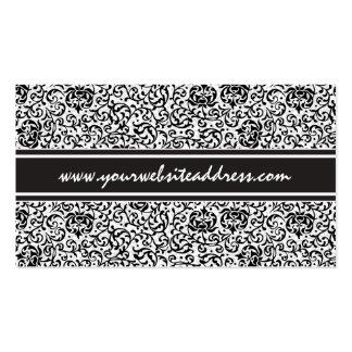 Ultra Elegant Black and White Fancy Floral Damask Pack Of Standard Business Cards
