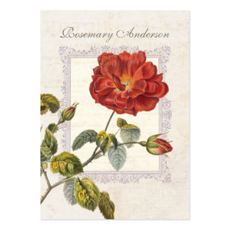 Ultra Elegant Old Fashioned Red Rose for Gardener Business Card Templates