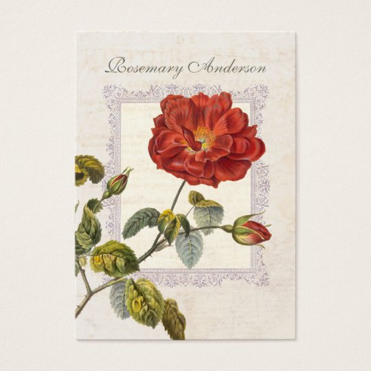 Ultra Elegant Old Fashioned Red Rose for Gardener Business Card