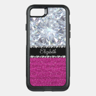 Ultra Glam Digital Diamond & Pink Glitter Personal OtterBox Commuter iPhone 8/7 Case