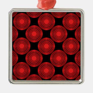 Ultra Modern Circles Premium Ornament, Red Silver-Colored Square Decoration