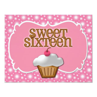 Ultra pink Cupcake Sweet Sixteen Party Card