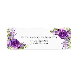 Ultra Viloet Rose Floral Return Address Labels